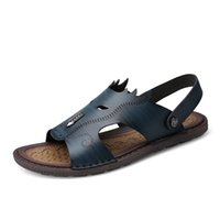 Hombres Verano Sandalias Hombres Zapatos de cuero suave Zapatos de moda Zapatos Hombre Zapatillas al aire libre Hombre transpirable Diapositivas Confort Zapatilla