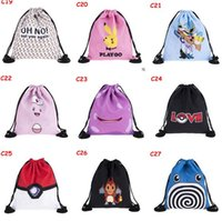 Wholesale 2017 Cartoon Emoji Backpacks Bags Drawstring Bags Animal D Printed Unique Polyester Outdoors Travel Shoulder Pouch Storage Bags