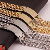 bible scriptures - Hot sell L MM Men s Scripture Cross Gold Titanium Steel Cuban Silver gold Scripture Bible Double Chain Curb Link Cube bracelet