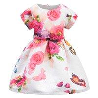 Acheter Belles robes à manches courtes-Haute Qualité Européenne Best Best Rose Flower Impression manches courtes Robes Butteryfly Flower Design 5Pcs / Lot Enfants Vêtements d'été PL4081