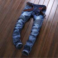 Wholesale NEW men s Jeans pants High quality jeans Tide brand SLIM STRAIGHT legged male fold hole locomotive men s jeans A0