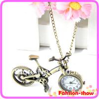 bicycle pocket watch - Retro Mini Bronze Bike Bicycle Design Quartz Pocket Watch Pendant Necklace Chain Free Shiping