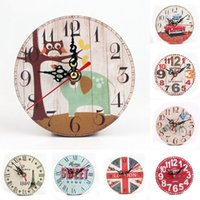 Wholesale 8Pcs Vintage Colorful Stripe Design Rustic Country Tuscan Style Wooden Decorative Round Wall Clock