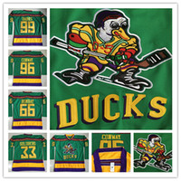 Wholesale Charlie Conway Greg Goldberg Mighty Ducks Throwback Hockey Jerseys Gordon Bombay Adam Banks Hockey Jersey Men Movie Jersey