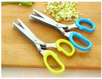 Wholesale 1Pc Stainless Steel Green Kitchen Knives Layers Scissors Sushi Shredded Scallion Cut Herb Spices Scissors Kitchen Tools