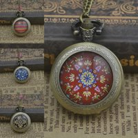 antique convex glass - fashion classic flower antique quartz pocket watch necklace woman fob watches bronze round convex lens glass picture new