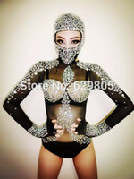 Wholesale Sexy Long Sleeves Leotard Costumes Rhinestone Crystals Outfit Black Singer Bodysuit Dj Gauze Sparkling Diamond Party Dresses