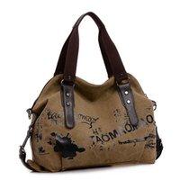 Wholesale Vintage Graffiti Women s Bag Canvas Handbag Female Famous Designer Shoulder Bag Ladies Tote Fashion Large Sac a Main bolsos Muje HLB028