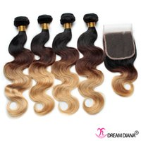 Body Wave best quality hair - 7A Virgin Hair Ombre Human Hair Weaves Body Wave Bundles With Lace Closure Three Tone B Best Quality Ombre Hair Extensions