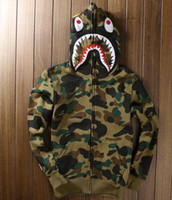 Wholesale NEW High quality Men s full zipper shark hoodie camouflage Army Military fleece hoodies and sweatshirts winter mens camo jacket
