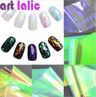 art glass sheets - Sheets D Holographic Broken Glass Foils Finger Nail Art Mirror Stickers Glitter Stencil Decal DIY Manicure Design Tools