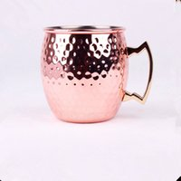 Wholesale Hammered Copper plated Stainless Steel Copper Moscow Mule Mug Sets Drum Type Beer Cup Water Glass Drinkware Brass Handle Hammered Moscow Mug