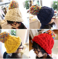 Wholesale New Children Knite Caps Korean Cute Warm Beanie Hats Winter Colorful Pom Pom Crochet Baby Girls Hats Kids Outdoor Cap