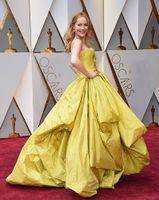 achat en gros de robe arc jaune-Jaune taffeta robe de bal robes de soirée 2017 Oscar Blanca Blanco Tapis rouge dersses robe de bal jaune sans bretelles avec arc