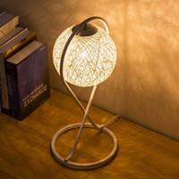Wholesale Hourglass shape table lamp industry linen Woven ball Shade desk lamp Diameter cm for living room hotel study