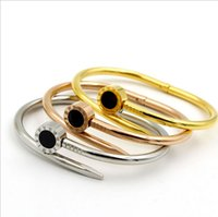 Wholesale 2017 newest fashional mutiple color stainless steel Roman numbers allergy free nail bangle bracelet jewelry hot sale