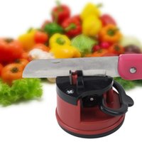 Wholesale 1pc Red Knife Sharpener Scissors Grinder Secure Suction Chef Pad Kitchen Sharpening Tool Plastic Sharpener for Knives
