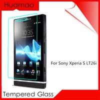achat en gros de couvertures xperia lt26i-Premium Version HD Protecteur d'écran en verre tempéré pour Sony Xperia S Lt26i Protection Housse Film protecteur Autocollant sur le téléphone