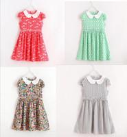 artificial lemons - 2017 new arrivals Doll Collar Artificial silk DRESS girls printting dress cute baby summer short sleeve dress colors