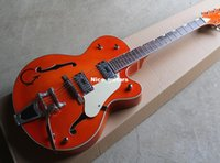 Wholesale Nice guitars Orange Semi Hollow Electric Guitar with Gold Hardware Tremolo System White Pickguard Offer Customized