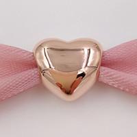 Día de San Valentín 925 cuentas de plata esterlina oro rosa chapado encanto corazón grande se adapta a Europa Pandora joyas de estilo collar de pulseras 780137