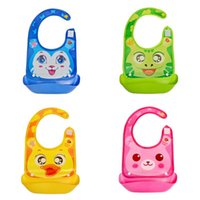 Wholesale Cartoon baby PVC stereo bib Strengthen waterproof silicone baby bib children to eat