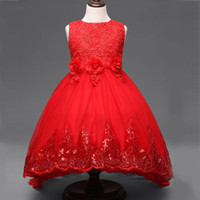 belle wedding dresses - New Year Costume For Girl Flower Lace TUTU Dress Clothes Christmas Children Kid Sleeveless Sequins Floral Red Wedding Princess Belle Dress