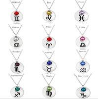 South American aries birthday gifts - 12 constellation lucky birthday stone birthday necklace fashion jewelry Christmas gift jewelry Aries Taurus Gemini Zorn_jewelry