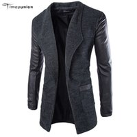 Wholesale Long Trench Coat Men Cotton Men s Winter Jacket Stand Collar Brand Asian Size M XXL Cardigan Trenchcoat Slim Fit Homme Black