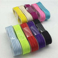 Wholesale 1 M ft Fabric Braided Micro USB Cable Data Charging Cables Line Charger Cords For Android Media Player V8 Wire