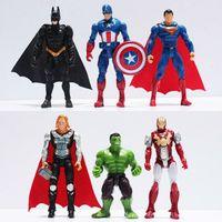 avengers gift set - 6pcs set cm High Quality The Avengers PVC Captain America Superman Batman Thor Iron man Action Figures For Baby Gift
