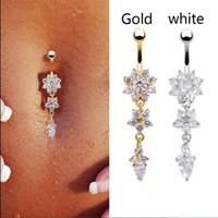 Wholesale New Fashion Sexy Body Piercing Navel Body Jewelry Dangle Flower Crystal Navel Bell Button Rings