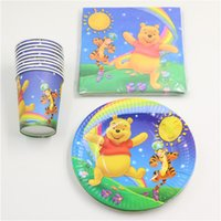 bamboo disposable plate - disposable tableware set paper plate cup tissue winnie the pooh theme party supplies person party decoration