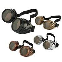 al por mayor cyber-Cyber gafas Steampunk gafas de sol soldadura gótico Cosplay Vintage Goggles rústico 10pcs