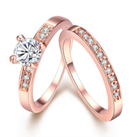 Wholesale Fashion Rose Gold Plated Cubic Zirconia Promise Engagement Wedding Ring Set Princess Cut Wedding Jewelry Size