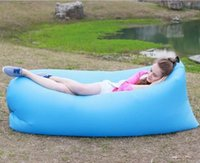 Wholesale Fast Inflatable Hangout Camping Sofa banana Sleeping Lazy Chair Bag Nylon Hangout Air Beach Bed chair Couch Seconds open
