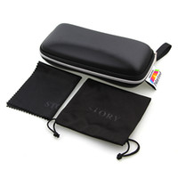 Wholesale Black Solid Color Sunglasses Case High Quality Cheap Capacity Zipper Case Contains Cloth and Bags Freeshipping