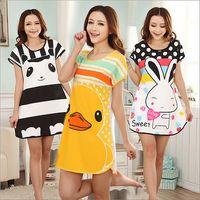 Wholesale Hot sales Girls Thin Long Sleepshirts Spring Summer Nightdress Cartoon Animal Sleep Dress Women Cotton Nightgown Sleepwear H067