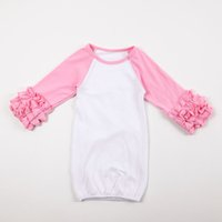 Wholesale Hot Sale Solid Color Infant Girl Gowns Ruffle Cotton Reglan Gown Long Sleeves Colourful Months