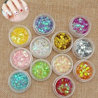 Wholesale Sequins Heart shaped solid sequins fashion Nail Sticker Decals for finger decoration set Color in stock