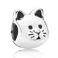 Compra Gatos de perlas-Auténtico 925 Plata de ley Animal Bead encanto de plata Europea gato perlas apta Mujer Pandora pulsera de pulsera Diy joyería HKA3317