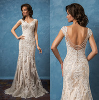 Wholesale backless mermaid wedding dresses amelia sposa bridal gowns cap sleeves v neck full embellishment elegant wedding gowns chapel train