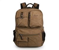 Hommes Et Femmes Mode Toile De Loisirs Sacs à dos sac à dos sac à dos sac de randonnée sac 15 pouces ordinateur portable de style coréen gros Brown couleur 9021B