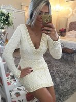 Wholesale Ivory Lace Womens Dresses Cocktail Party Gowns Full Sleeves Sexy V neck vestidos Mini Formal Gowns Robe de Cocktail Dress Pearls
