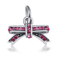 achat en gros de bow pandora-Fits Pandora ailes en argent sterling Multicolore diamant Bow perles Charms pour Diy style européen Snake Charm chaîne Bijoux Fashion DIY