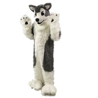 Wholesale Gray Wolf Husky dog Mascot Costume Cartoon Real Photo