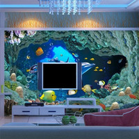 Wholesale Custom photo wallpaper D wall paper for living room TV background underwater world d mural wallpaper for walls contact paper