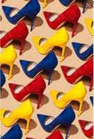 achat en gros de jaune talons hauts-Les talons hauts de velours de suede de jaune / de bule / rouge bombent les chaussures de robe de partie de femmes chaudes de vente libèrent l'expédition