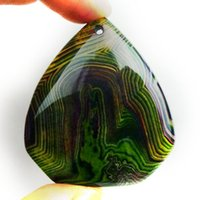 YZ02759 verde de ónix ágata pendiente DIY Joyas haciendo piedra