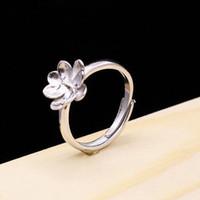 8-11mm perla semi montaje anillo de bodas de compromiso 925 mujeres de plata de ley flor fina plata marco de piedras preciosas